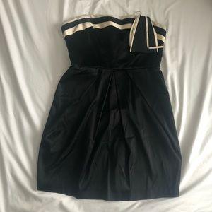 Black and white BCBG satin mini dress